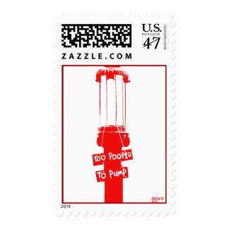 Too-Pooped-To-Pump Red Vintage Gas Pump Postage Stamp