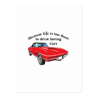 TOO SHORT TO DRIVE BORING CARS POSTCARD