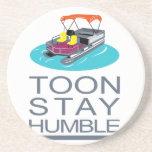 Too Stay Humble Pontoon Boat Retro Text Coaster