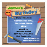 Tool Building Construction Birthday Party Invite