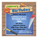 "Tool Building Construction Birthday Party Invite 5.25"" Square Invitation Card"