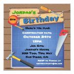 "Tool Building Construction Birthday Party Invite 5.25"" Square Invitation Card"