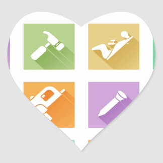 Tool icons flat shadow style heart sticker
