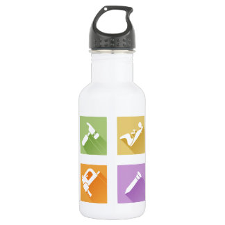 Tool icons flat shadow style stainless steel water bottle