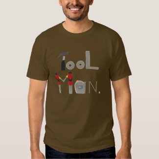 Tool Man spelled with a painting of tools, shirt