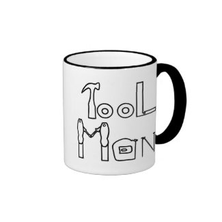 Tool Man spelled with drawing of tools, mug