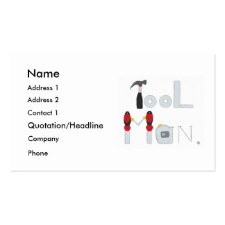 Tool Man spelled with painting of tools, business Business Card
