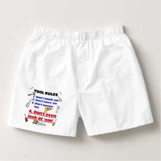 Tool Rules Humorous Wood Shop Dad Father Garage Boxers