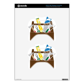 Toolbox with Construction Tools Color Illustration Xbox 360 Controller Decal