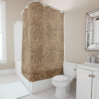 Tooled Leather Brown Medium Print Western Shower Curtain