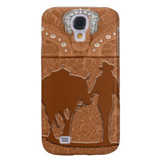 "Tooled Leather ""Cowgirl & Horse"" Western IPhone 3 Galaxy S4 Cover"