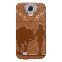 """Tooled Leather """"Cowgirl & Horse"""" Western IPhone 3 Samsung Galaxy S4 Case"""