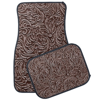 Tooled Leather Dark Brown Chocolate Rustic Look Car Floor Mat