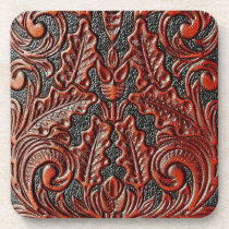 Tooled leather hard plastic coaster