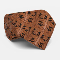 Tooled Leather Print Brown And Black Western Tie