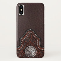 Tooled leather texture iPhone case
