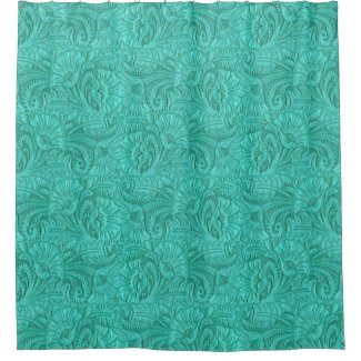 Tooled Leather Turquoise Small Print Western Shower Curtain