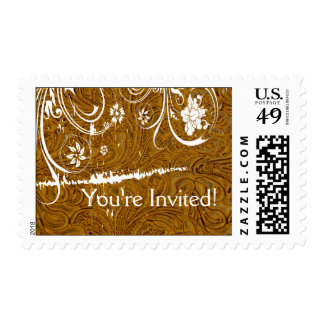 Tooled Leather White Lace Postage
