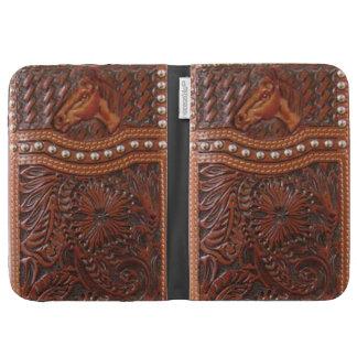 "Tooled Leather ""Wild Horse"" Western Kindle Case"