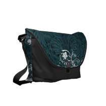 Tooled Teal Blue Leather-Look Western Messenger Bag