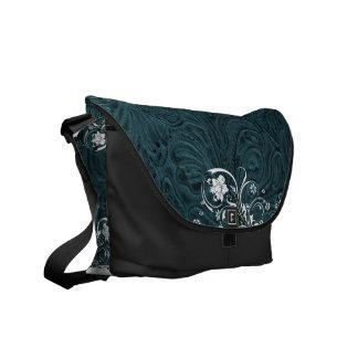 Tooled Teal Blue Leather-Look Western Messenger Bag