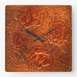 Tooled Western Leather Roses Clock