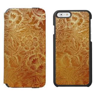 Tooled Western Leather Southwestern Amber Brown iPhone 6/6s Wallet Case
