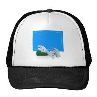 Tools blueprint construction background trucker hat