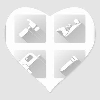 Tools icon set heart sticker