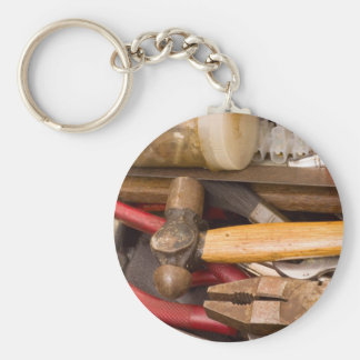 Tools in a messy toolbox basic round button keychain