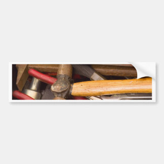 Tools in a messy toolbox bumper sticker