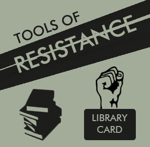 Tools of Resistance: Library Card & Books Pinback Button