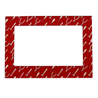 Tools, on burgundy picture frame magnet