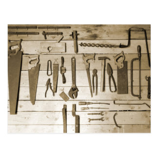 Tools on Wooden Wall Postcard