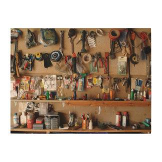 Tools on Workshop Wall Wood Wall Decor