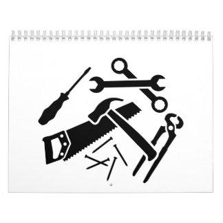 Tools saw hammer nails screwdriver calendar