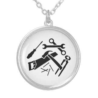 Tools saw hammer nails screwdriver round pendant necklace