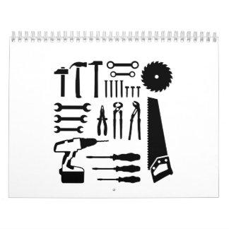 Tools set hammer saw wrench calendar