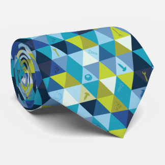 Tools & Triangles Blue Green Tie