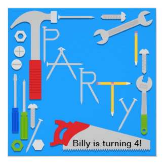 Tools Workshop Birthday Party Invitation