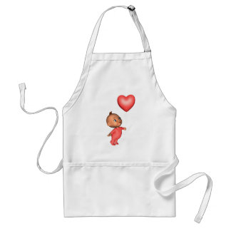 Toon Baby with Pink Heart Balloon Adult Apron