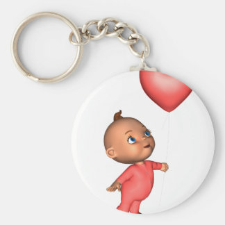 Toon Baby with Pink Heart Balloon Basic Round Button Keychain