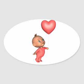 Toon Baby with Pink Heart Balloon Oval Sticker