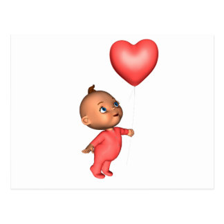 Toon Baby with Pink Heart Balloon Postcard