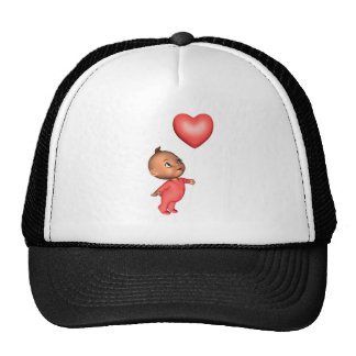 Toon Baby with Pink Heart Balloon Trucker Hat