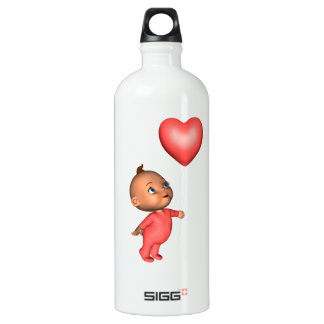 Toon Baby with Pink Heart Balloon Water Bottle