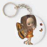Toon Butterfly Fairy - Orange Basic Round Button Keychain