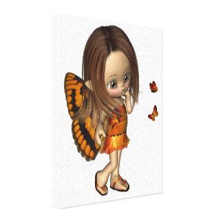 Toon Butterfly Fairy - Orange Canvas Print
