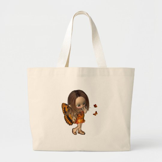 Toon Butterfly Fairy - Orange Large Tote Bag