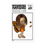 Toon Butterfly Fairy - Orange Stamps